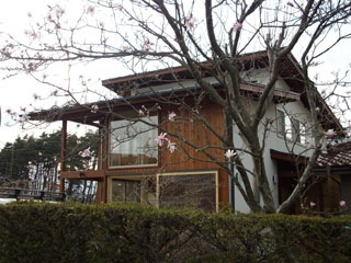 深い軒と杉板貼の壁が景観に馴染む外観