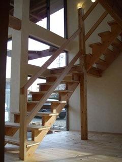 窓からの景色を眺めながら上り下りできる階段